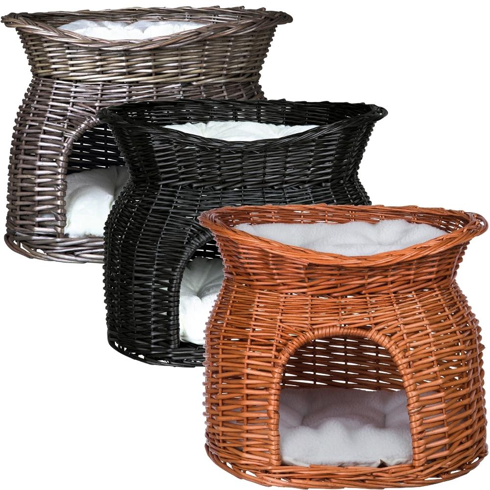 weiden korbh hle mit liegedach und 2 kissen f r katzen. Black Bedroom Furniture Sets. Home Design Ideas